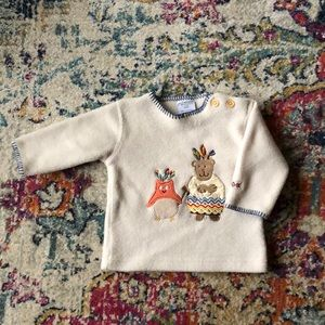 H&M Baby Adorable Thanksgiving Beige Fleece Top 4M